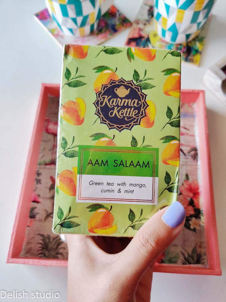 closeup of aam salaam tea pack