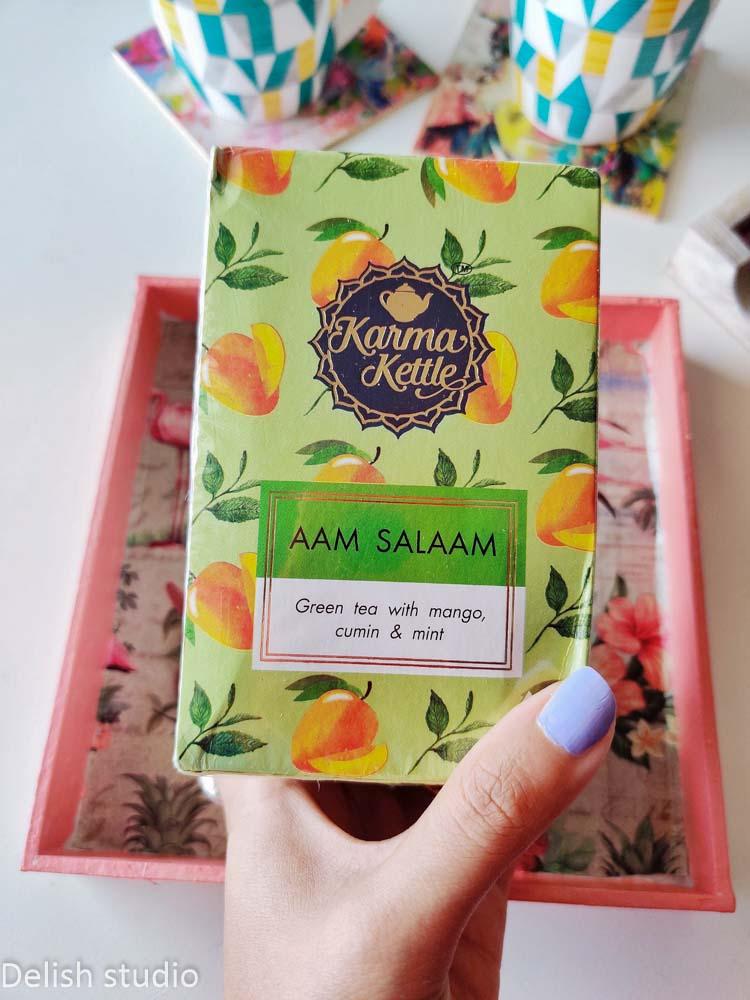 closeup of aam salaam tea pack