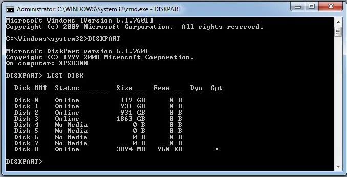 diskpart windows 8