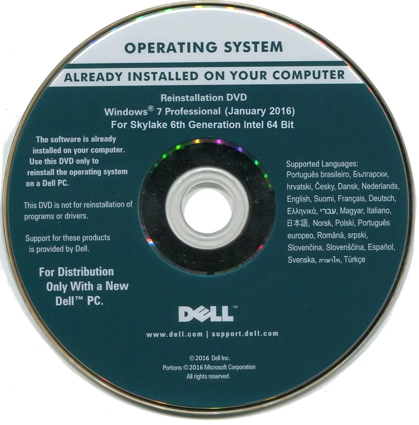 Download Dell Windows 7 Pro OEM Skylake Reinstallation iso - Windows