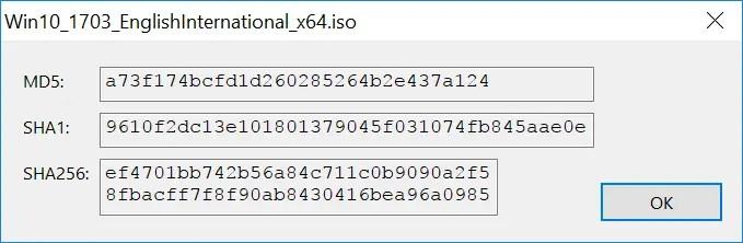Checking Windows 10 Version 1703 Installation  iso Checksums