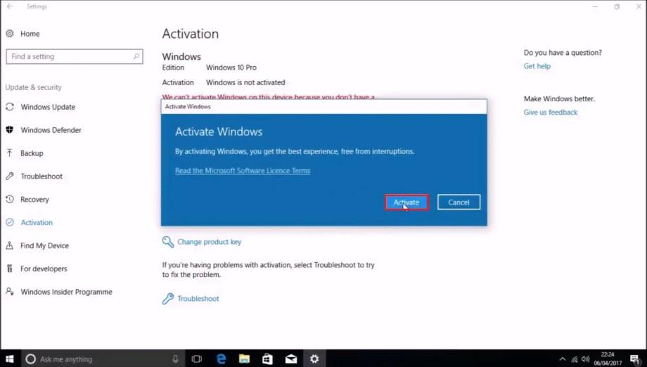 Windows 10 bios product key