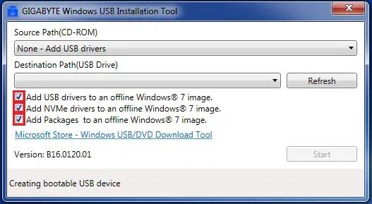 gigabyte windows 7 usb installation tool download