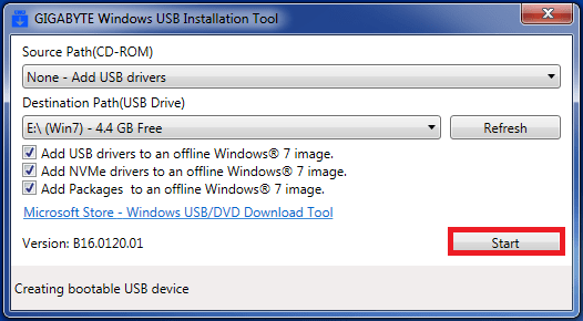 download windows usb installation tool gigabyte