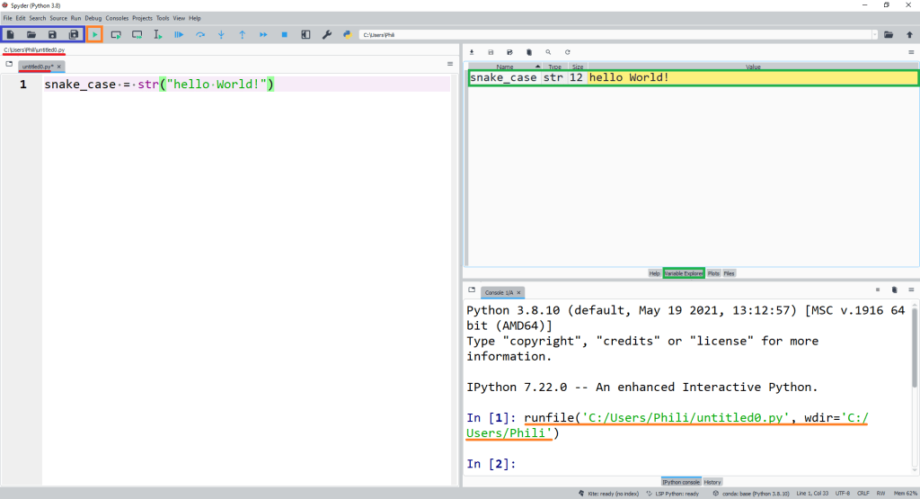 Running a Spyder script. The Spyder script editor, console and variable explorer.