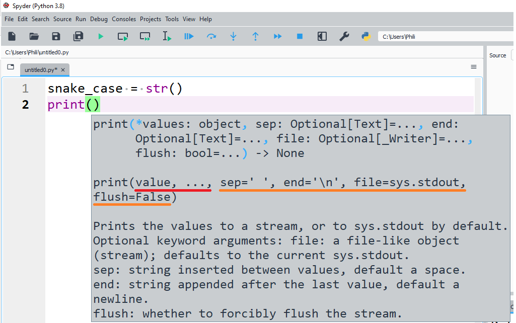 The Python print function with positional and keyword input arguments.
