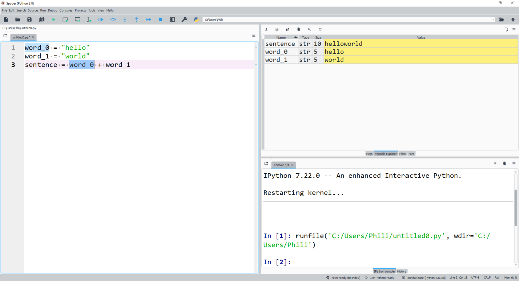str concantenation using the + operator which corrsponds to the str datamodel method __add__