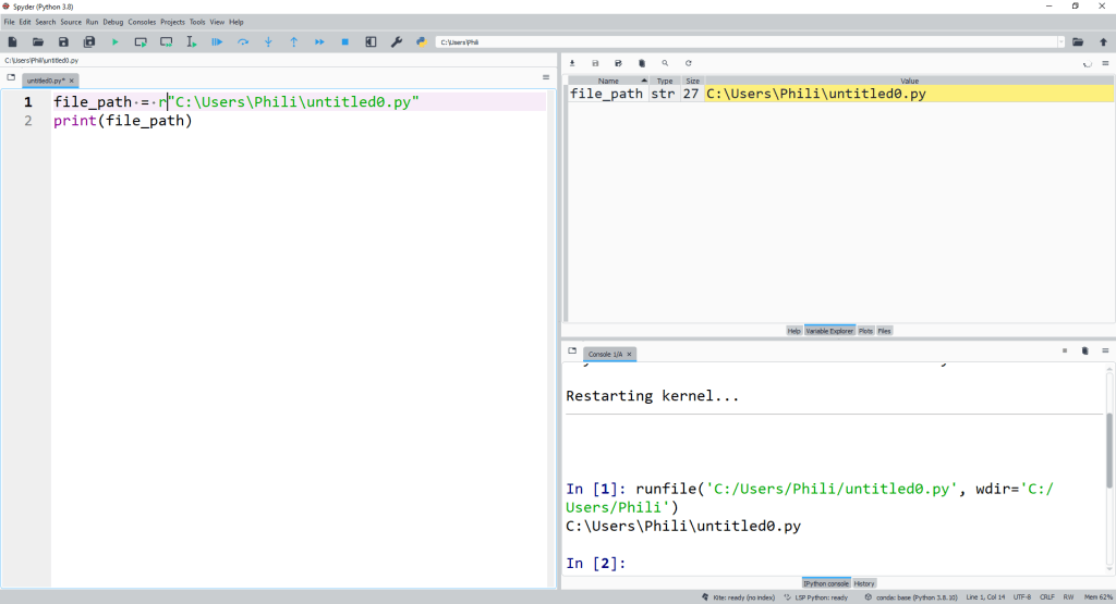 We can also prepend a str with r to create a relative str. In a relative str any \ is taken to be \\.