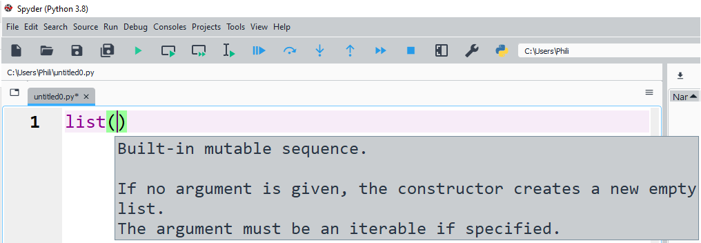 The class list can be used to instantiate a list explicitly.