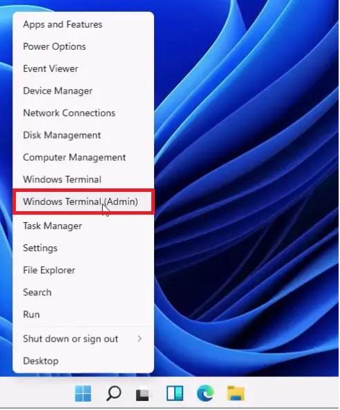 Windows 11 Power User Menu.