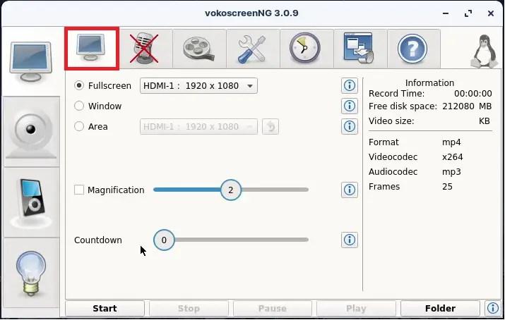 VokoScreenNG Screen capture settings