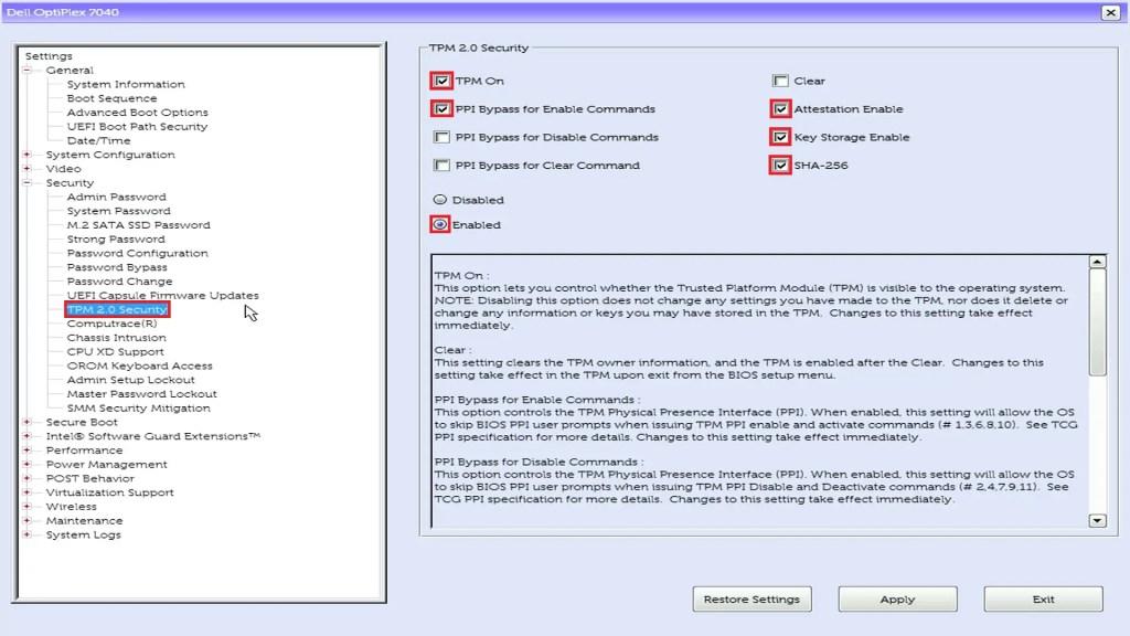 Dell UEFI BIOS Setup Trusted Platform Module (TPM 2.0) On.