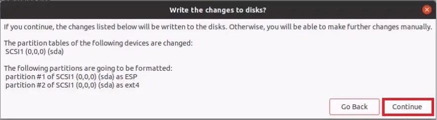 Ubuntu Setup: Erase Disk and install Ubuntu Confirmation.