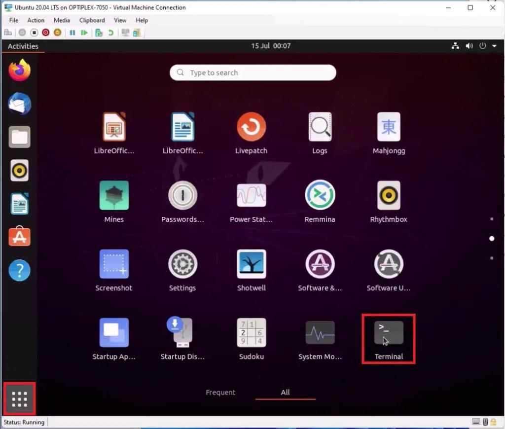 Ubuntu Start Menu, launch Terminal.
