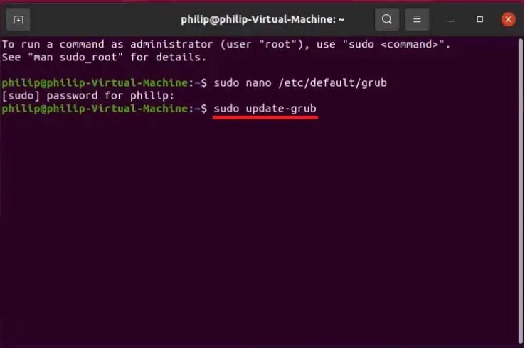 Ubuntu update grub using the terminal.