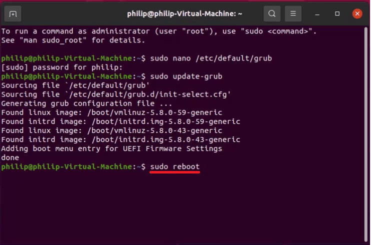 Reboot using the terminal.