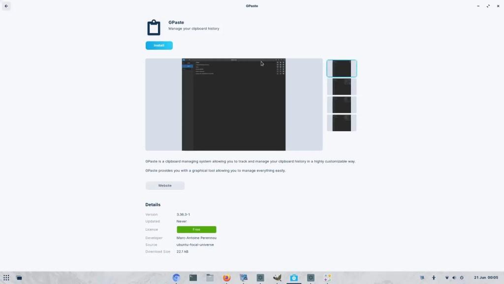 Zorin OS Software install GPaste