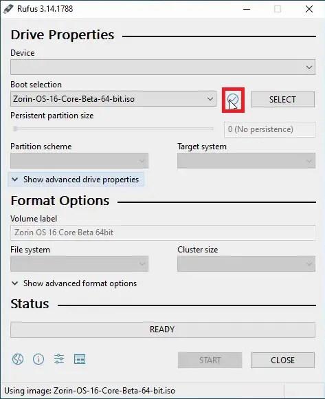 Rufus Zorin OS 16 ISO Check ISO Checksums