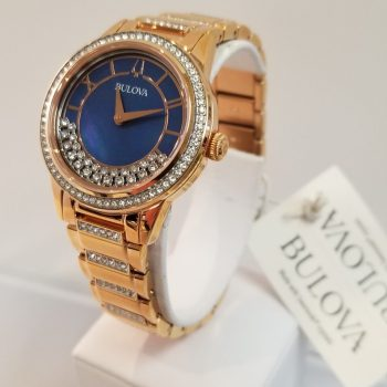 Bulova Rose Gold Crystal Turnstyle