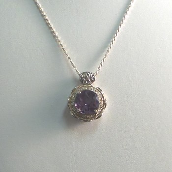 Sterling Silver Necklace with Lilac Crystal surrounded by White Crystals
