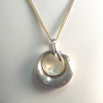 Silver & Gold Dual Chain Necklace with Round Pendant & White Crystals