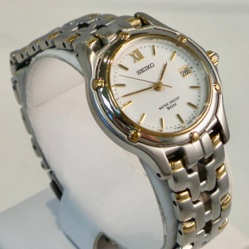 Seiko Ladies Stainless Steel with Gold Accent Watch