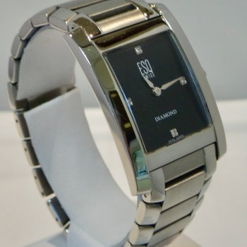 ESQ Swiss by Movado Stainless Steel and Black Fashion Watch