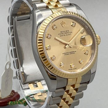 Rolex DateJust Stainless Steel & Gold with Diamond Hour Markers