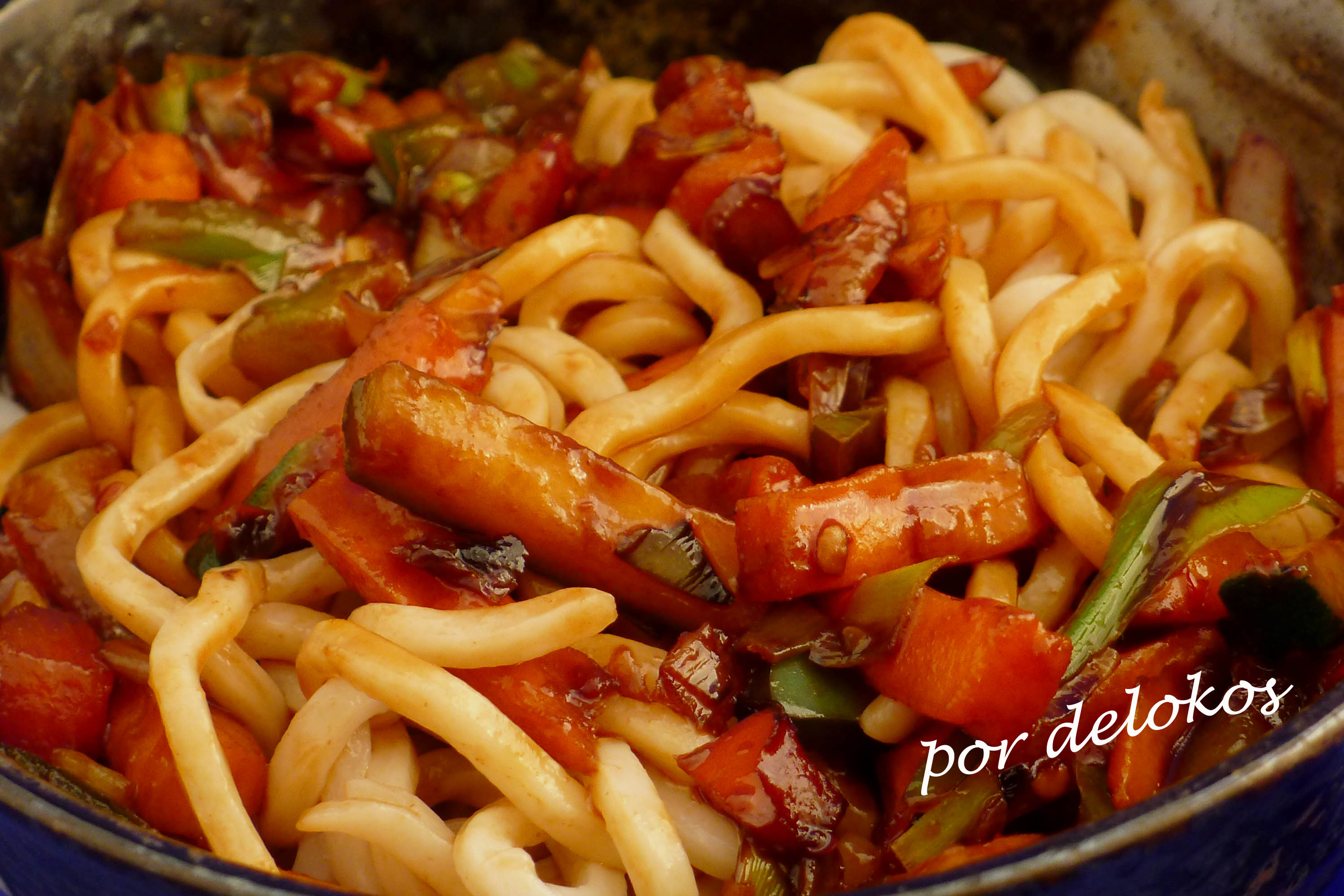 Wok rpido de verduras y fideos  Delokos