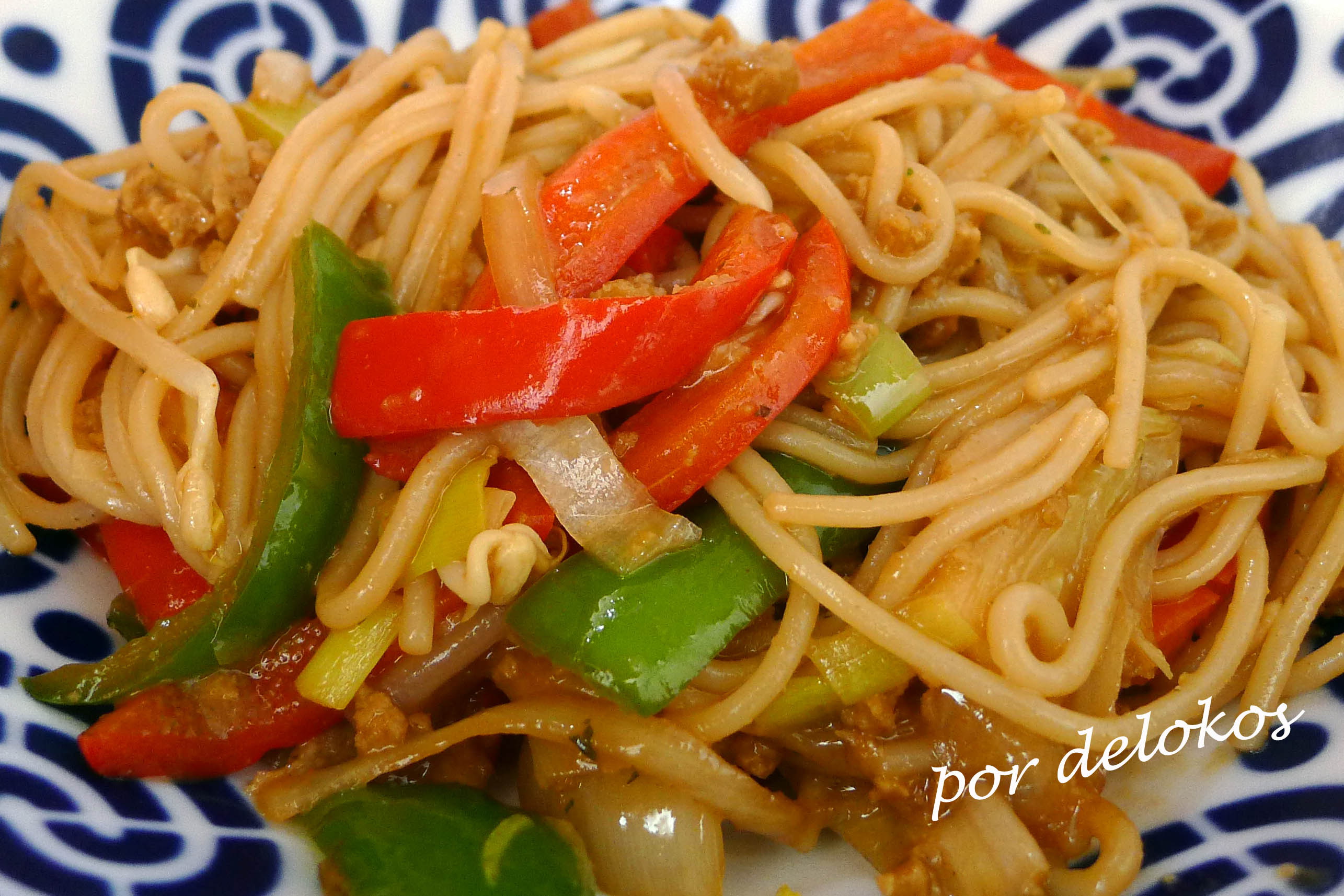 Fideos chinos salteados con verduras y seitn  Delokos
