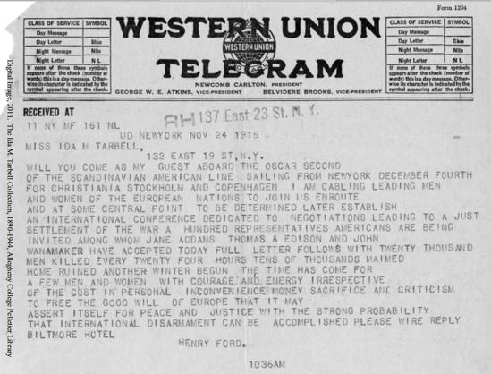 Liveblogging World War I: November 24, 1915: Henry Ford to