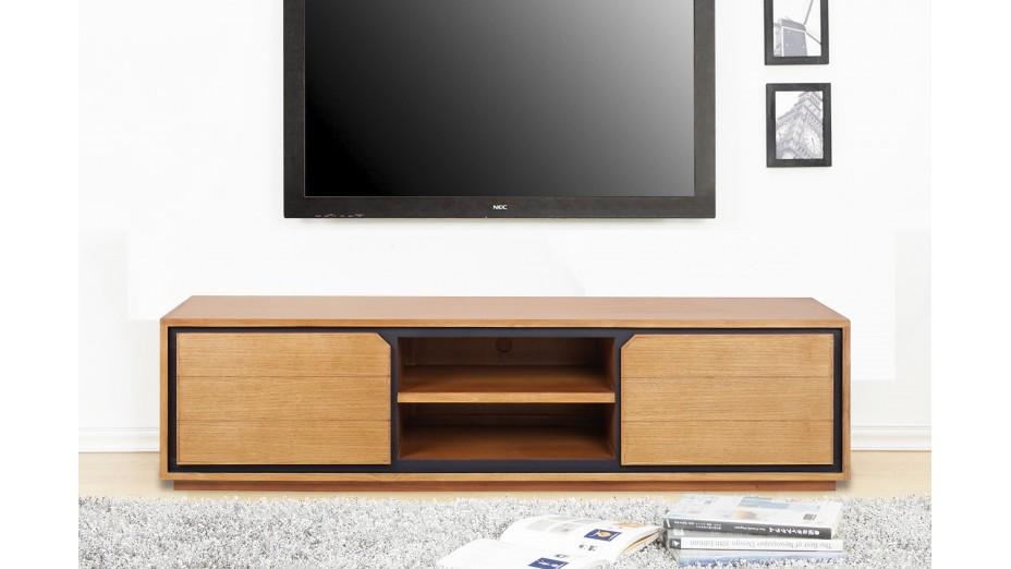 meuble tv design en teck massif 2 portes 2 niches dynamic 150 cm