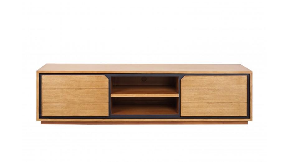 meuble tv design en teck massif 2 portes 2 niches dynamic 200 cm