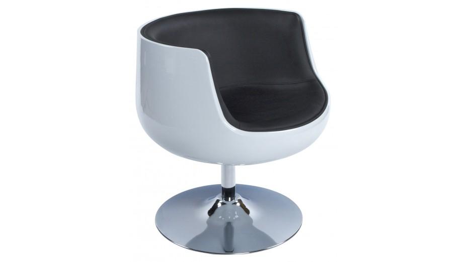 kode fauteuil coque boule blanc et noir pivotant