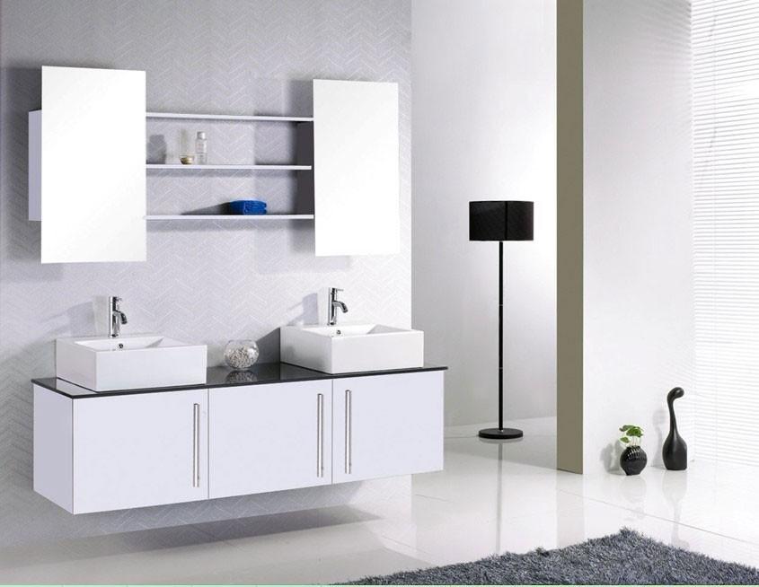 kit complet meuble de salle de bain double vasque etageres et miroirs