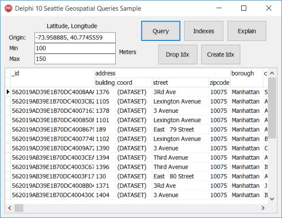 Geospatial MongoDB FireDAC