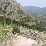 Ruins of the theatre and of the temple of Apollo at Delphi