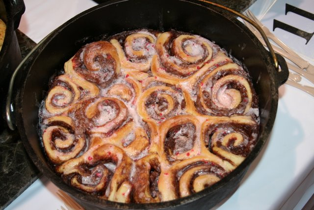 Dutch Oven Cinnamon Rolls - Photograph by Robert Love (prepared by someone else)