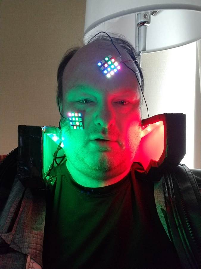 Cyberpunk 2077 cosplay LEDs straight on. They changed colors, and weren't always red and green.