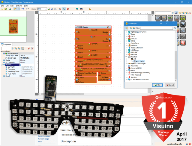 Visuino makes Arduino and LED RGB Shade development easy. It is an Embarcadero Cool App developed with Delphi!