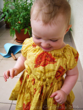 Red Flowers Baby Dress, size 12-18m