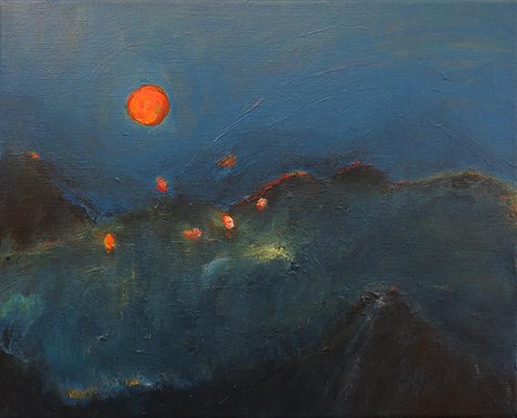 Khumbu 2  : acrylique sur lin, 33 x 41cm