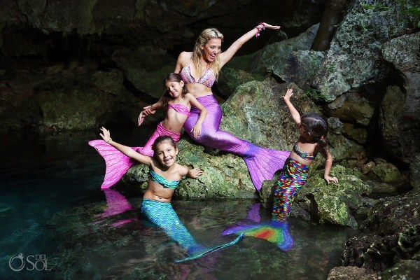 Mermaid Family Portrait - Cenote And Beach Trash Tail