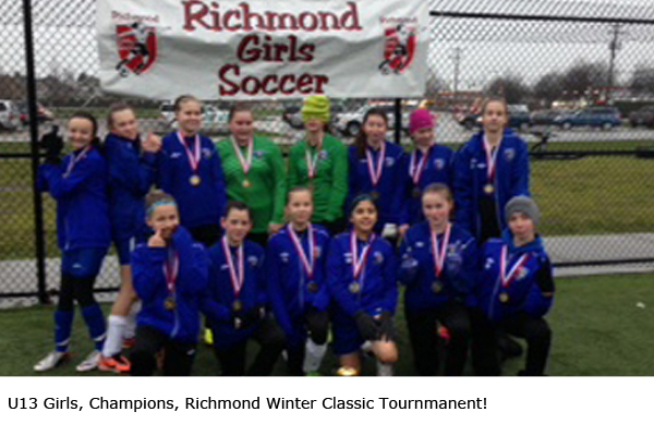 U13 Girls, Champions, Richmond Winter Classic Tournament!