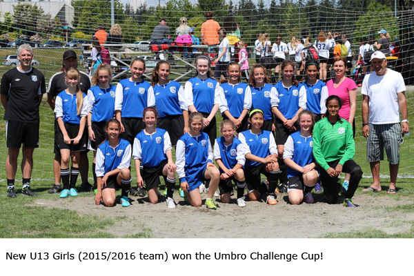 New U13 Girls (2015/16 team) won the Umbro Challenge Cup!
