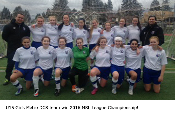 U15 Girls win 2016 MSL League Champions