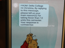 A photo of one of the texts sent to a student. PHOTO BY KILLIAN BARNHART