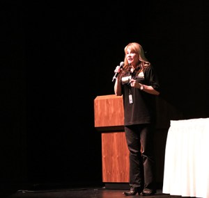 Alina Sala, associate professor/DSPS counselor, talks about implementing her newest program called TASK on Feb.23 in the Tillie Lewis Theatre at Delta College during Counselor Collaboration Day.