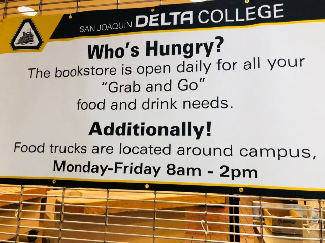 A banner at Danner Hall provides information about the finding food on campus. PHOTO BY VICTORIA FRANCO