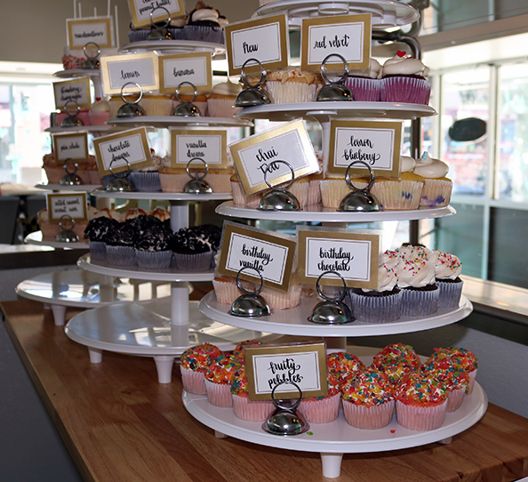 The variety of cupcake flavors served at D'lilah's Cakery. Photo by Adriana Hernandez